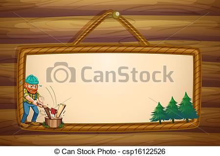 Vector Illustration of Illustration of a woodman chopping the.