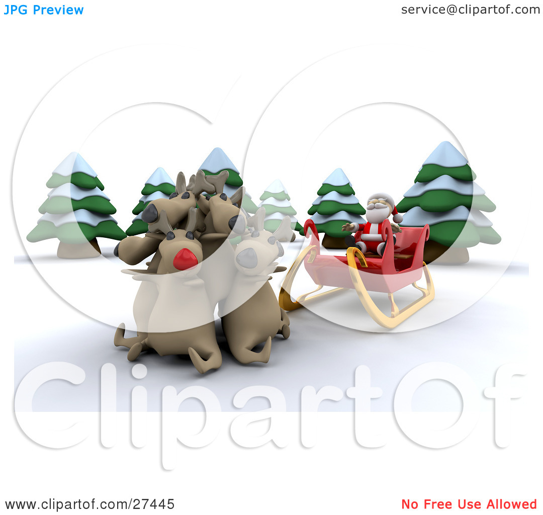 Clipart Illustration of Rudolph And Santa's Other Reindeer Huddled.