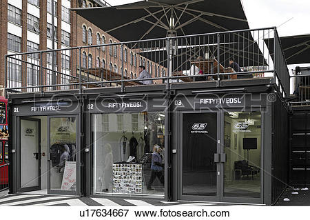 Picture of England, London, Shoreditch. Frontage of Fiftyfivedsl.