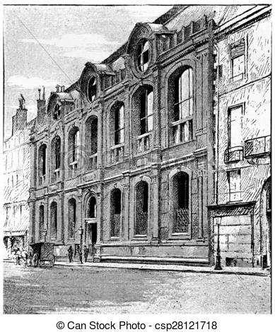Clipart of Frontage on the quay Malaquais, vintage engraving.