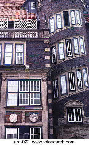 Stock Photo of Unusual Building Frontage Hamburg Germany arc.