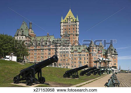 Pictures of Chateau Frontenac with canons in foreground. x27153958.