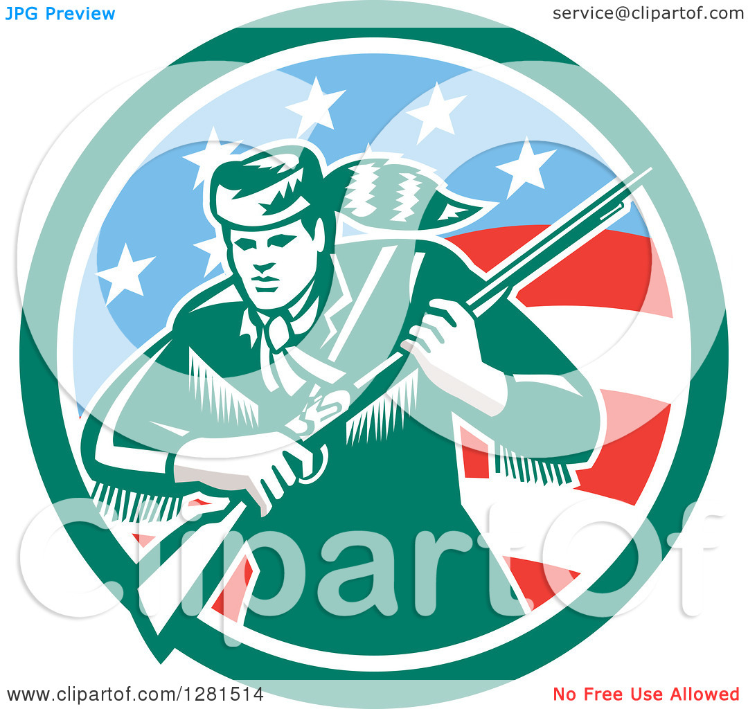 Clipart of a Retro American Frontiersman, Daniel Boone, Holding a.
