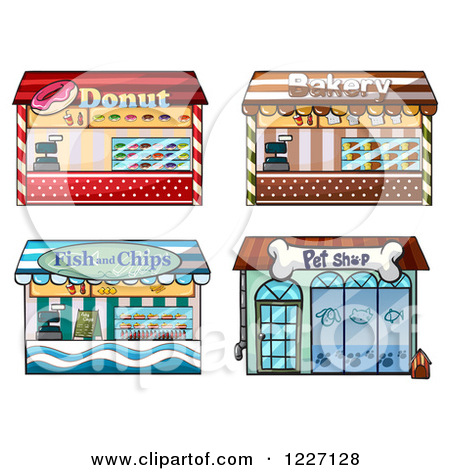 Cartoon of Building Facade Store Fronts.