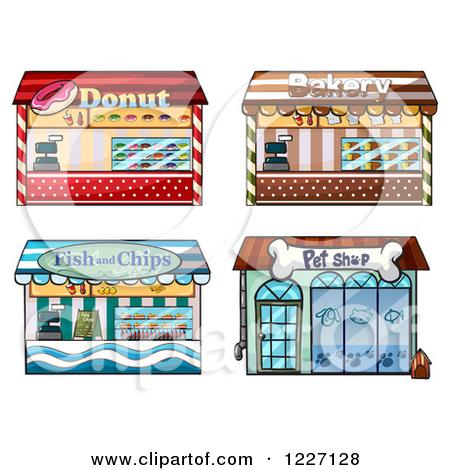 Cartoon of Building Facade Store Fronts.