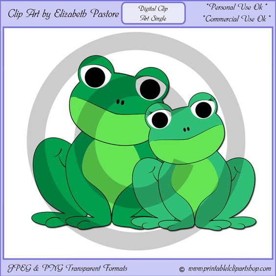 Clip Art Single Of A Frog Couple.