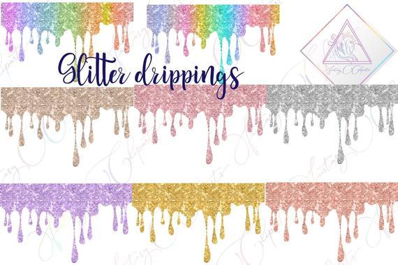 Glitter drippings, dripping overlay, sparkling drips, liquid.