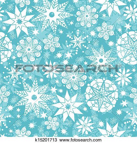 Clipart of Decorative Snowflake Frost Seamless Pattern Background.