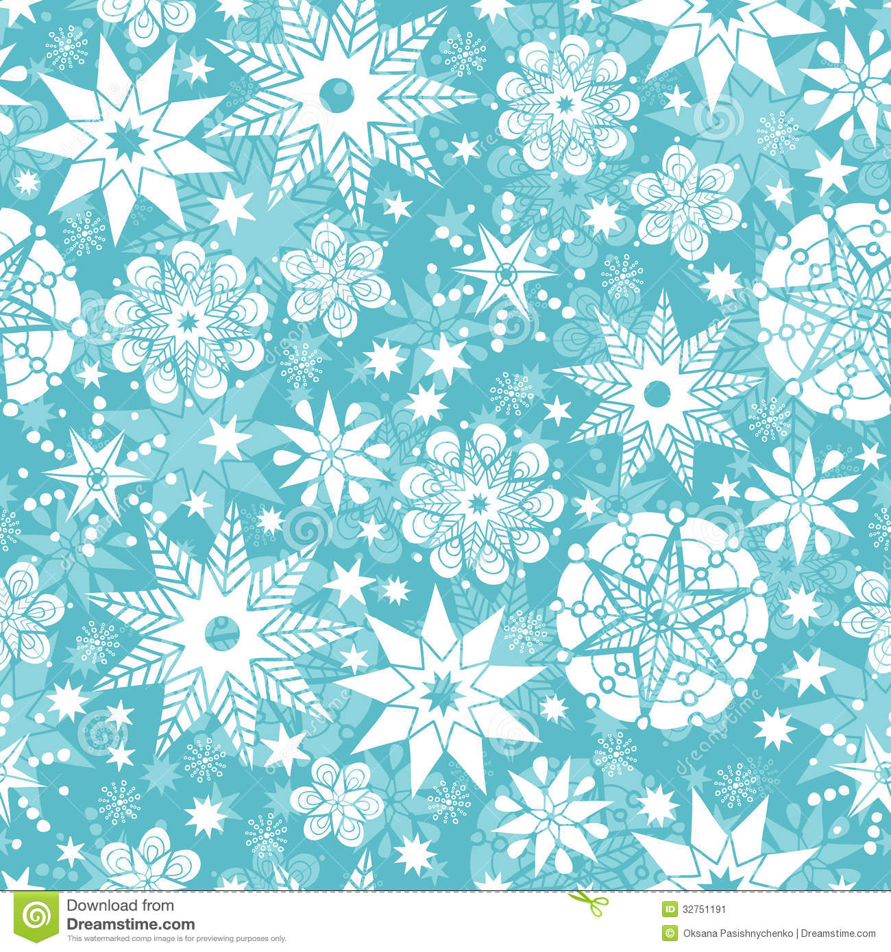 Decorative Snowflake Frost Seamless Pattern Stock Image.
