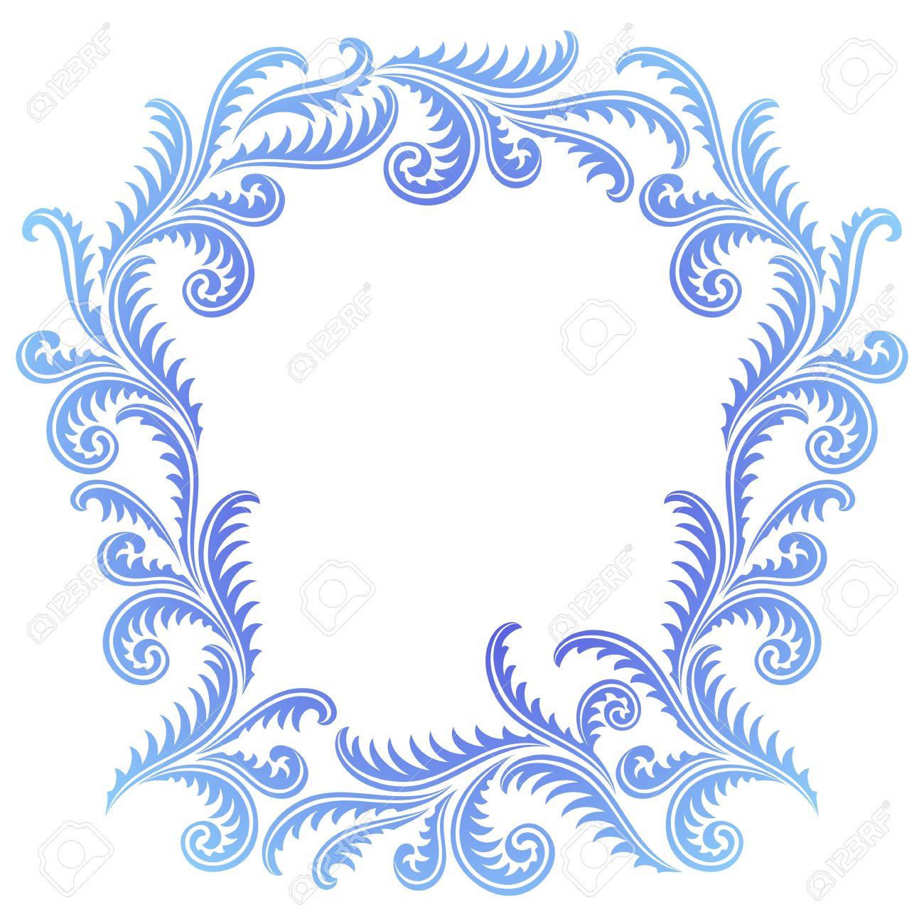 Frost Pattern Frame. Winter Window Style Border Royalty Free.