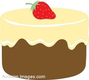 Chocolate Cake With Vanilla Frosting Clip Art.
