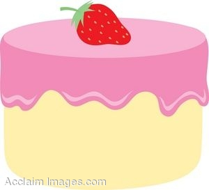 White Cake With Strawberry Frosting Clip Art.