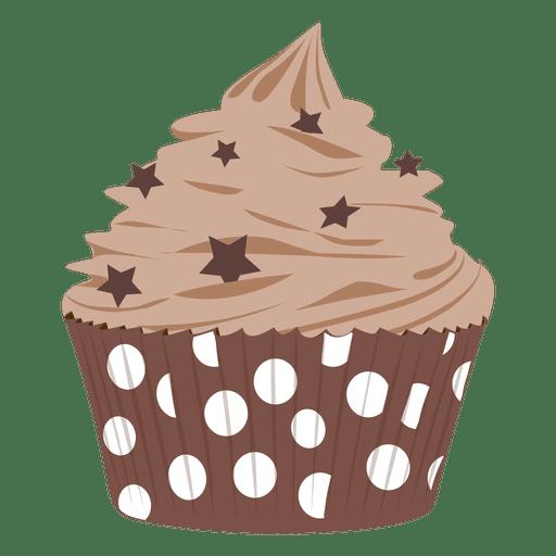 Chocolate frosting cupcake illustration.