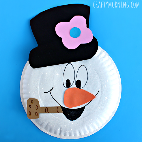 Paper Plate Frosty the Snowman Craft.