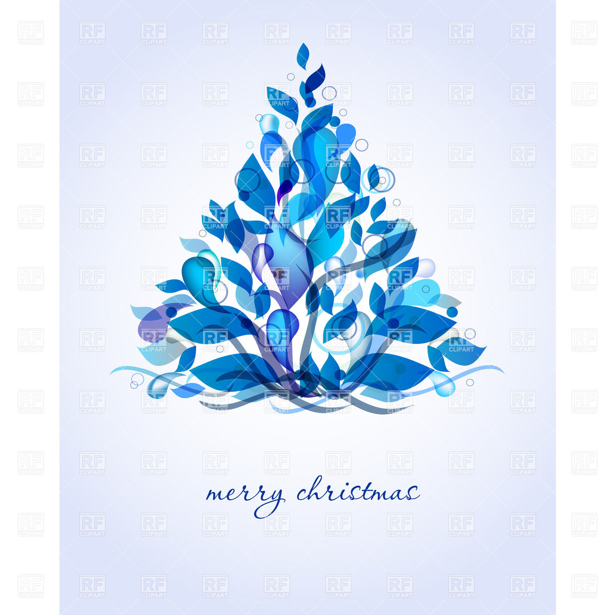 Frosty blue christmas tree clipart.