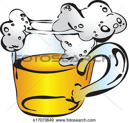 Clip Art of Beer mug with froth k17073649.
