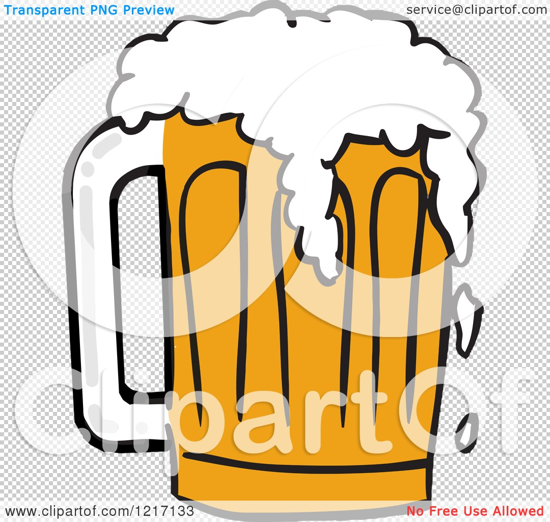 Clipart of a Mug of Beer with Froth Spilling over.