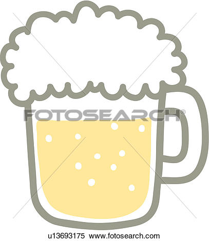 Clipart of bubbles, froth, alcohol, draft beer, beer glass.