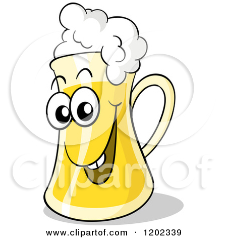 Cartoon of a Happy Beer Mug with Froth.