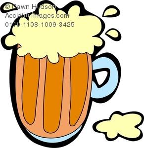 A Mug Of Frothy Beer Clip Art Image.