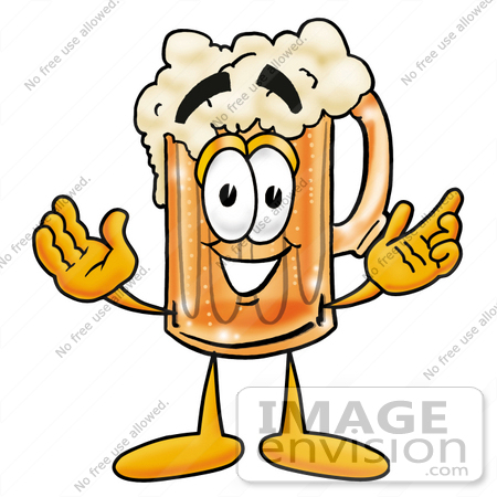 Clip art Graphic of a Frothy Mug of Beer or Soda Cartoon Character.