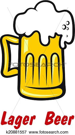 Clip Art of Pint of golden frothy lager or beer k20881557.
