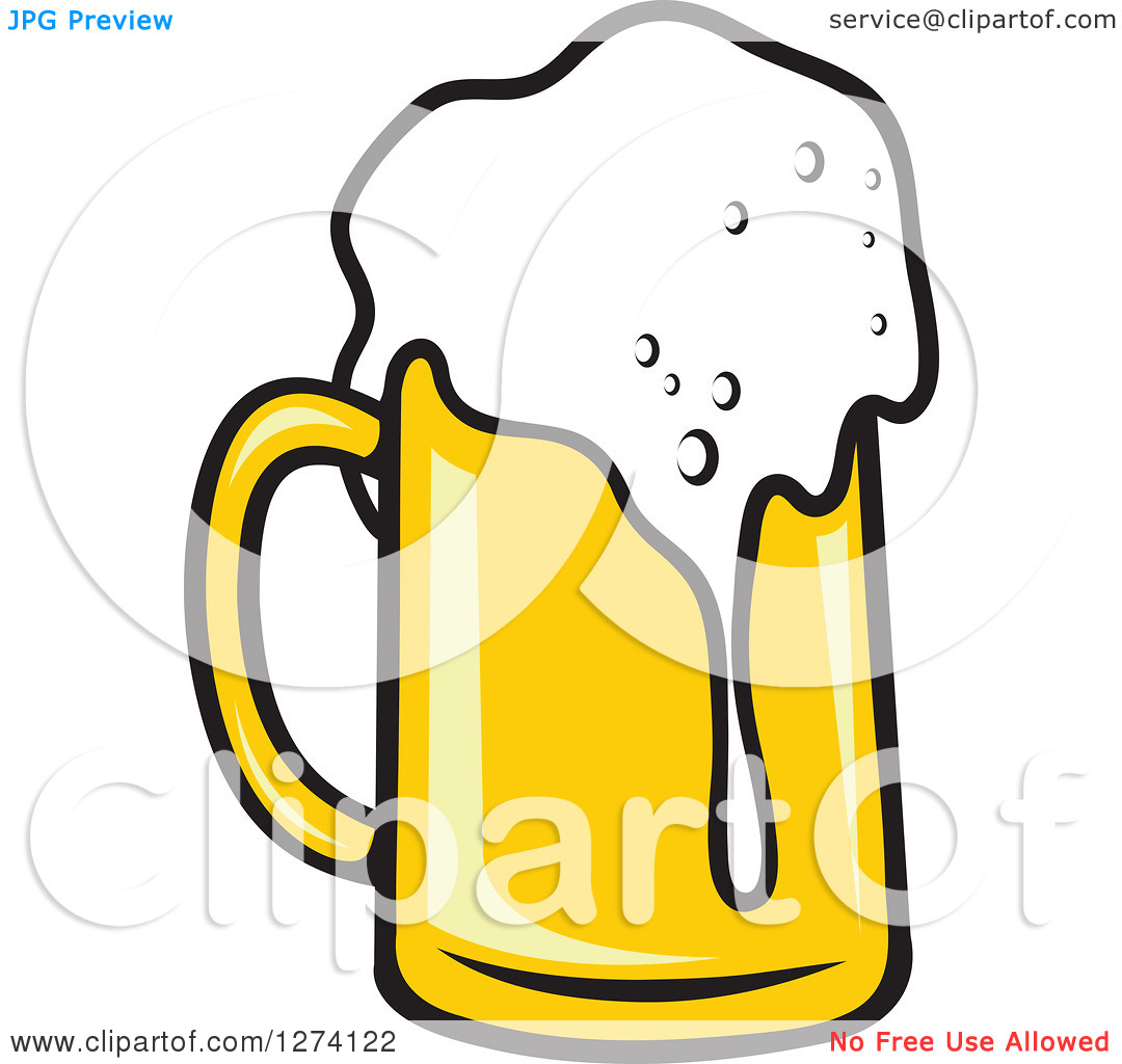 Clipart of a Frothy Mug of Beer 23.