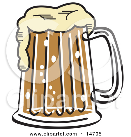 Black and White Frothy Mug of Beer in a Bar Clipart Illustration.
