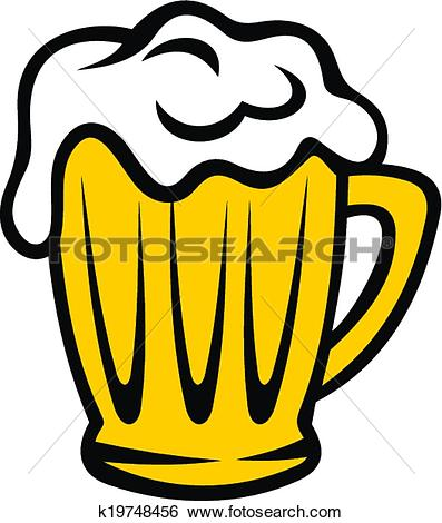 Clip Art of Golden tankard of beer with a frothy head k19748456.