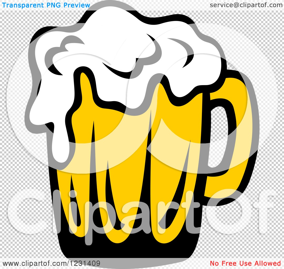 Clipart of a Frothy Mug of Beer 6.