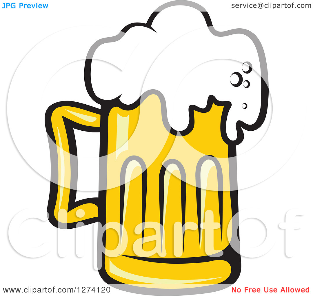 Clipart of a Frothy Mug of Beer 27.