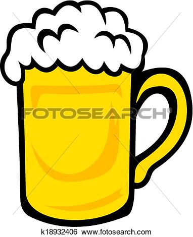 Clip Art of Tankard of frothy golden beer k18932406.
