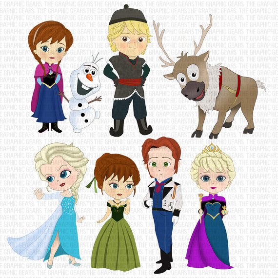 Frozen Clip Art Set Frozen inspired Characters Clipart.