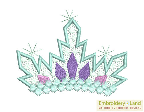 Tiara Frozen Machine Embroidery Design Ice Princess GRL001.