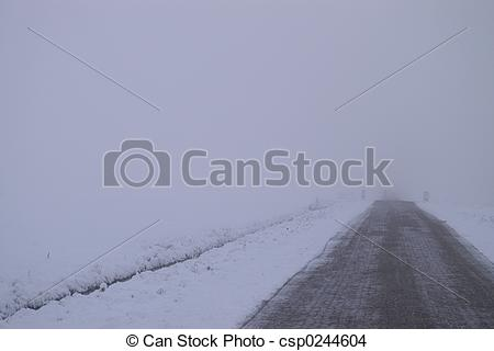 Drawing of Frozen fog road and landscape. csp0244604.