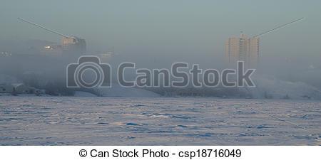 Stock Photo of yellowknife fog.