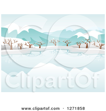 Clipart of a Still Frozen Lake and Bare Trees with Snow and.