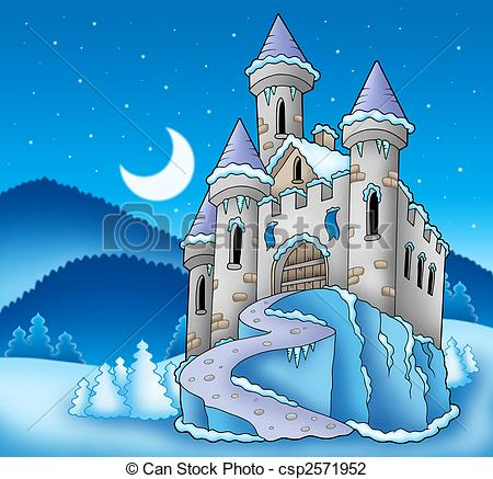Clip Art of Frozen castle in winter landscape.