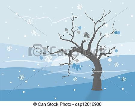 Vector Clipart of Lonely tree in winter landscape.