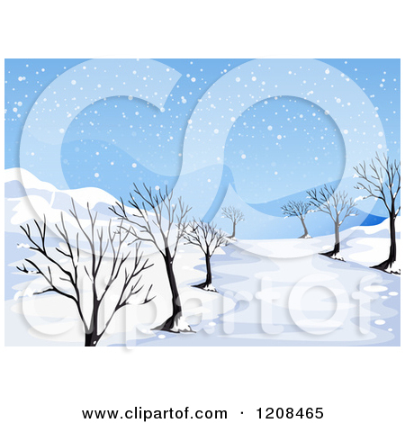 Cartoon of a Winter Landscape with Bare Trees and a Frozen Creek.