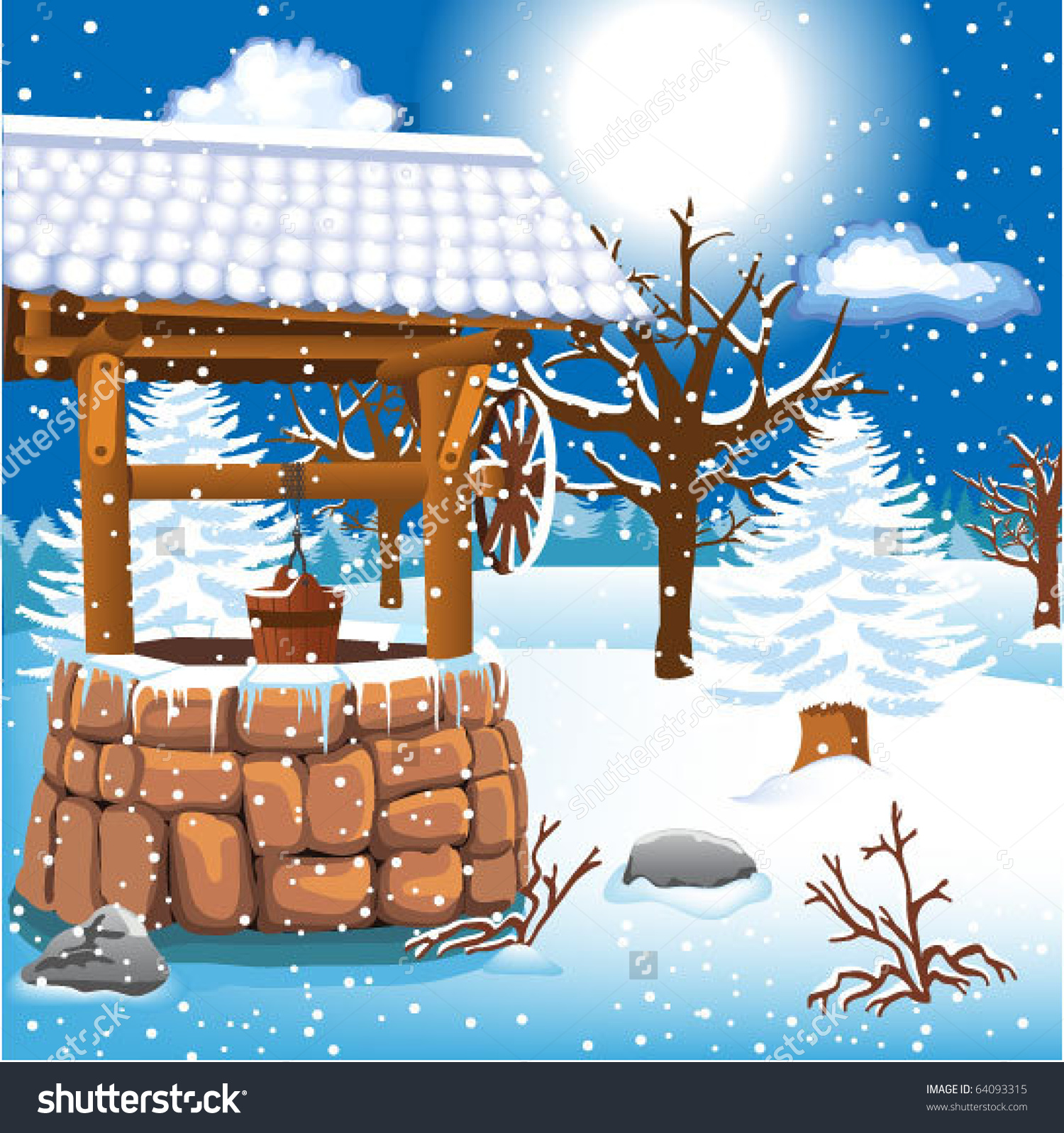 Winter Landscape With Frozen Well Stock Vector Illustration.