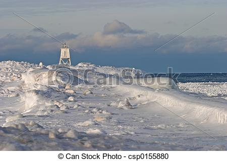 Stock Photography of Frozen Lighthouse.
