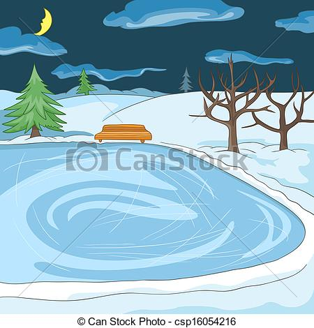 Frozen pond clipart.