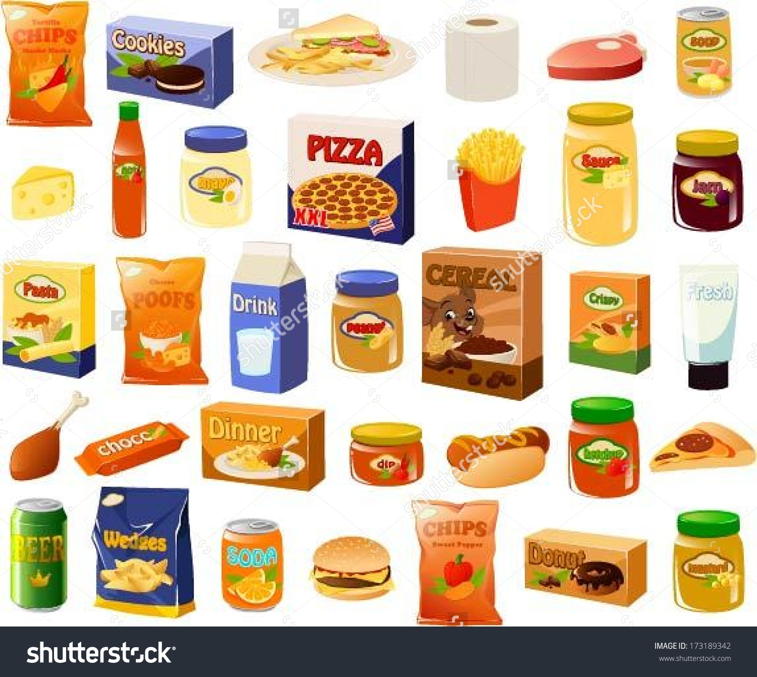 Vector Illustration Set Bachelors Stereotypical Food Stock Vector.
