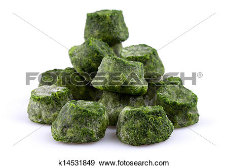 Stock Photograph of Frozen spinach close.