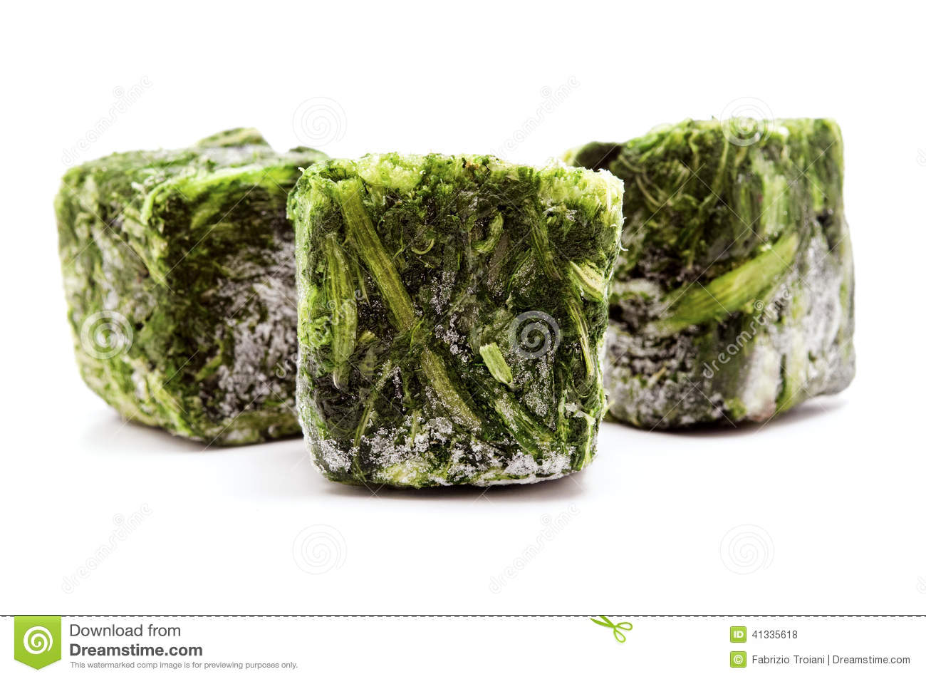 Cubes Of Frozen Spinach On The White Background Stock Photo.