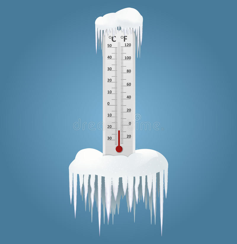 Frozen Thermometer Stock Illustrations.