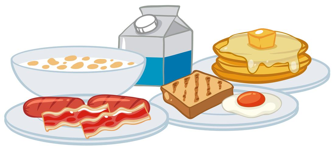 A Breakfast Set on White Background.