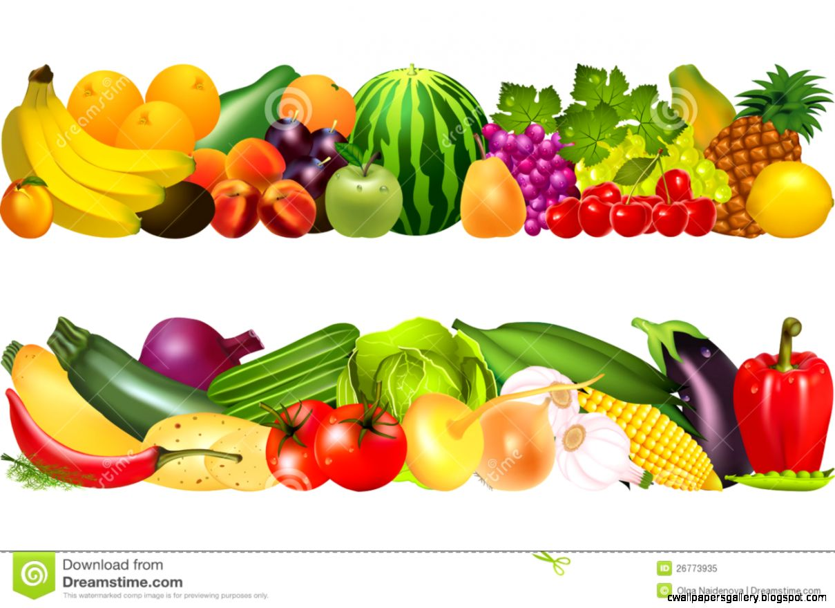 Fruits And Vegetables Border.
