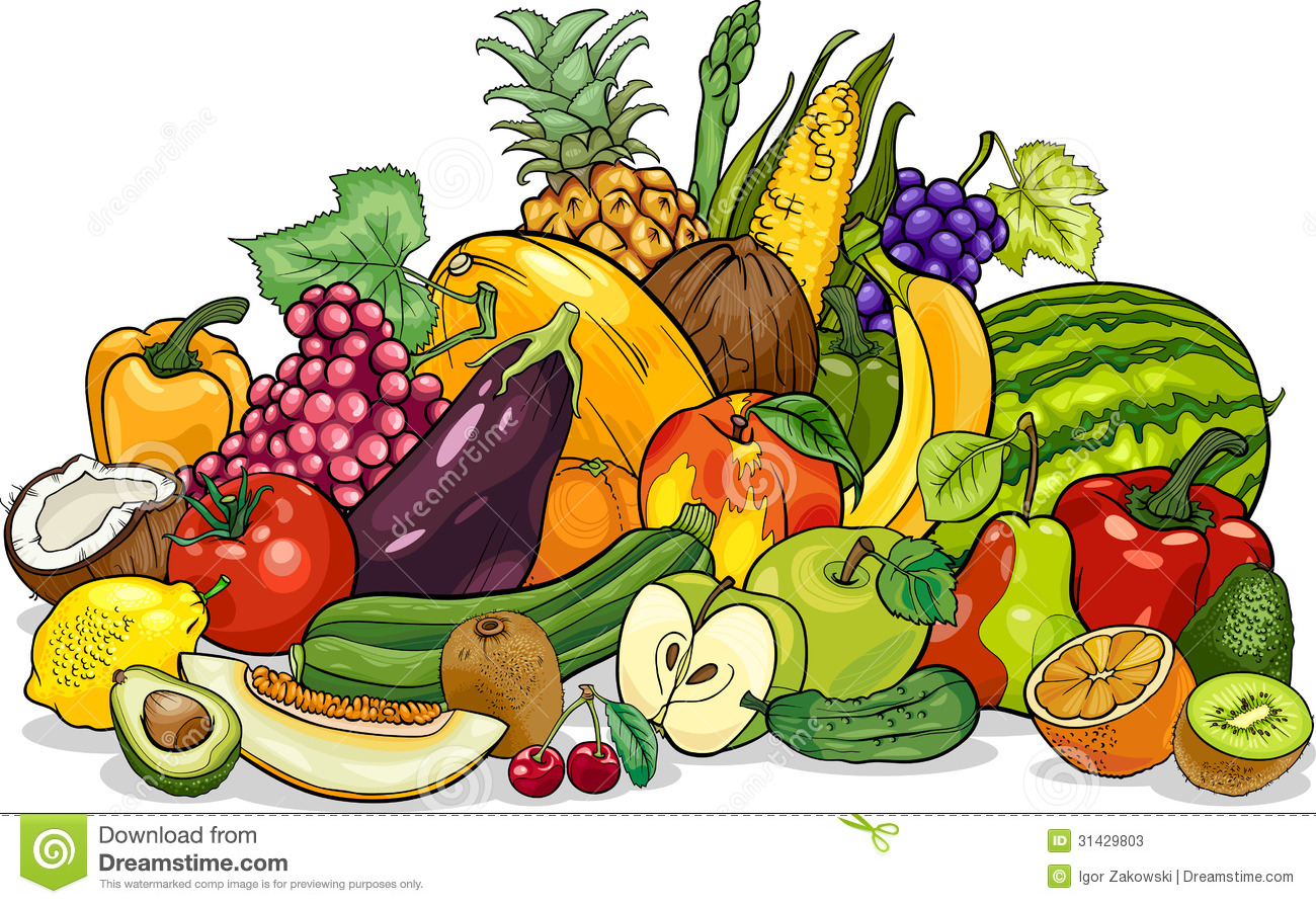 Fruits and vegetable clip art.
